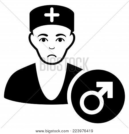 Pitiful Andrologist Doctor vector icon. Style is flat graphic black symbol with sorrow sentiment.