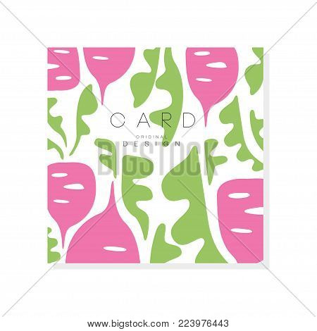 Original card with beet and green leaves. Healthy and organic vegetable. Abstract design for product advertising, grocery store or farmer market. Vector illustration isolated on white background.