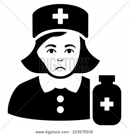 Dolor Apothecary Lady vector pictogram. Style is flat graphic black symbol with depressed expression.