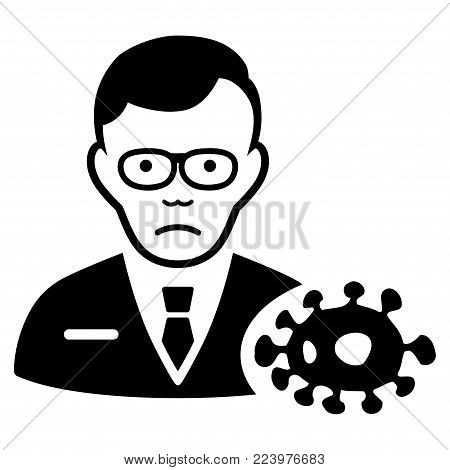 Sadly Bacteriologist vector pictograph. Style is flat graphic black symbol with desperate expression.
