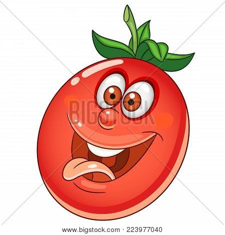 Cartoon Tomato. Happy Vegetable Emoticon. Smiley. Emoji. Eco Food symbol. Design element for kids coloring book page, t-shirt print, icon, logo, label, patch, sticker.