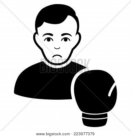Sadly Boxing Sportsman vector icon. Style is flat graphic black symbol with mourning mood.