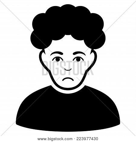 Pitiful Brunet Man vector pictograph. Style is flat graphic black symbol with mourning emotion.