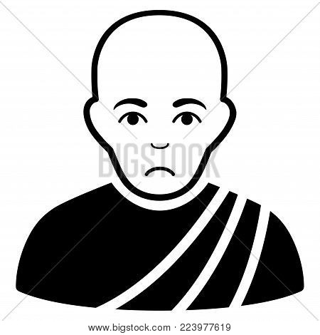 Sadly Buddhist Monk vector icon. Style is flat graphic black symbol with sadness expression.