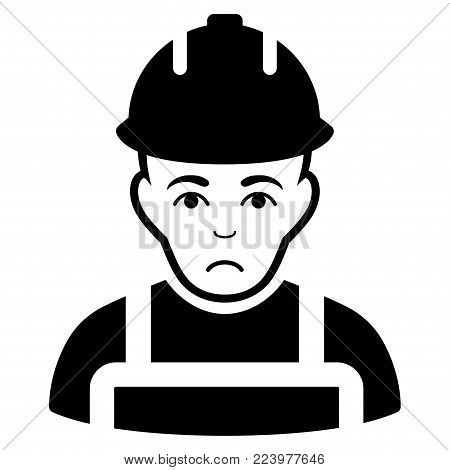 Sadly Builder vector pictograph. Style is flat graphic black symbol with mourning emotion.