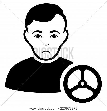 Pitiful Car Driver vector pictograph. Style is flat graphic black symbol with sad emotions.