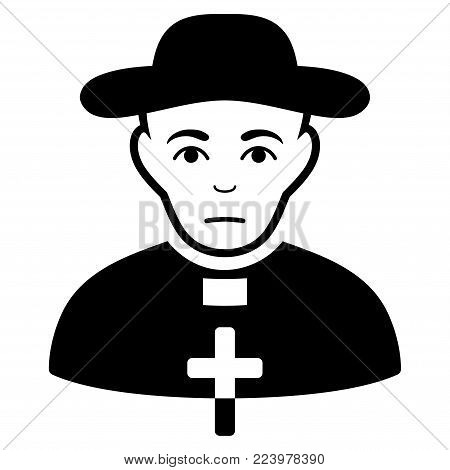 Dolor Catholic Shepherd vector pictograph. Style is flat graphic black symbol with depressed feeling.