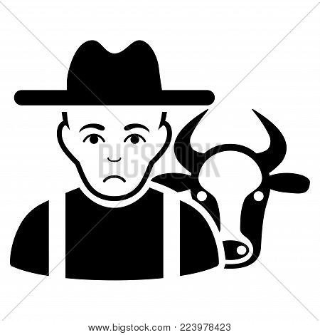 Sadly Cattle Farmer vector pictogram. Style is flat graphic black symbol with sadly emotion.