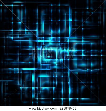 abstract shining blue squares on a dark background