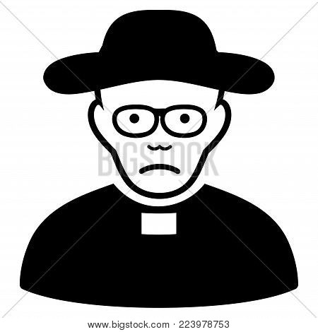 Sadly Church Shepherd vector icon. Style is flat graphic black symbol with sadness emotion.