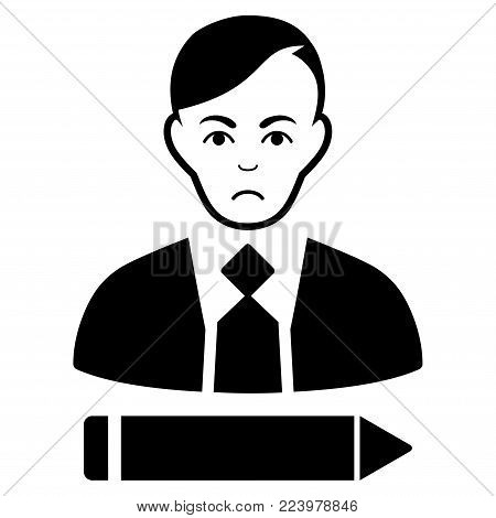 Sad Clerk vector pictogram. Style is flat graphic black symbol with depressed expression.