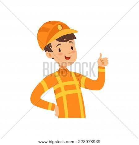 Cute firefighter character, boy in the costume of fireman vector Illustration on a white background