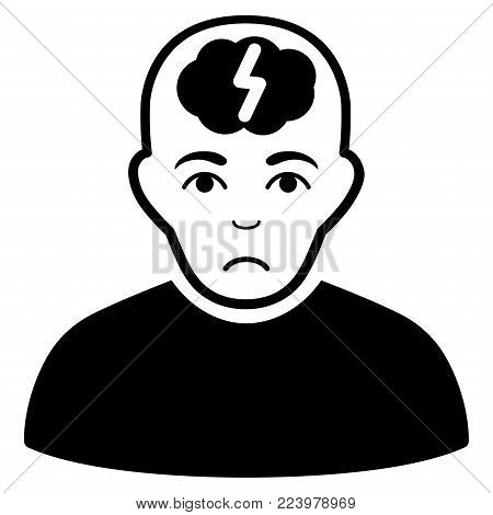 Dolor Clever Boy vector pictogram. Style is flat graphic black symbol with affliction mood.