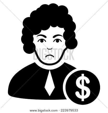 Sad Corrupt Judge vector icon. Style is flat graphic black symbol with sadness sentiment.