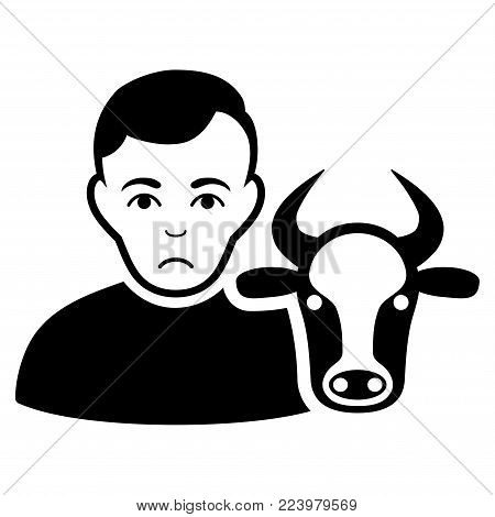 Dolor Cow Farmer vector pictograph. Style is flat graphic black symbol with depressed emotions.