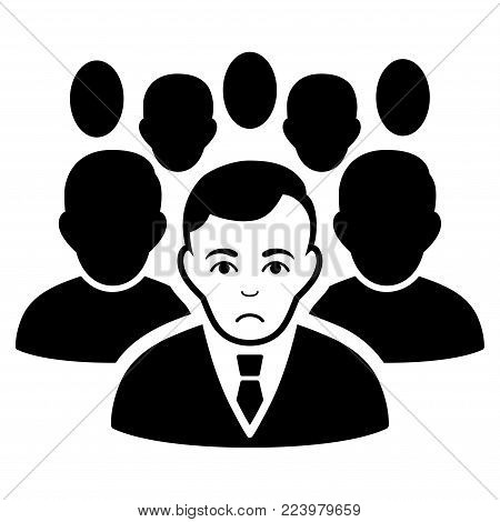 Sadly Crowd vector pictogram. Style is flat graphic black symbol with sad emotion.