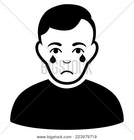 Sadly Crying Boy vector pictograph. Style is flat graphic black symbol with affliction emotions.