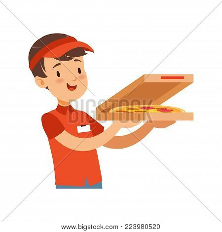 Pizza delivery boy character with box, boy in red uniform vector Illustration on a white background