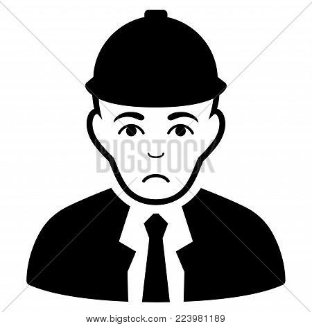 Unhappy Engineer vector pictogram. Style is flat graphic black symbol with sorrow emotion.