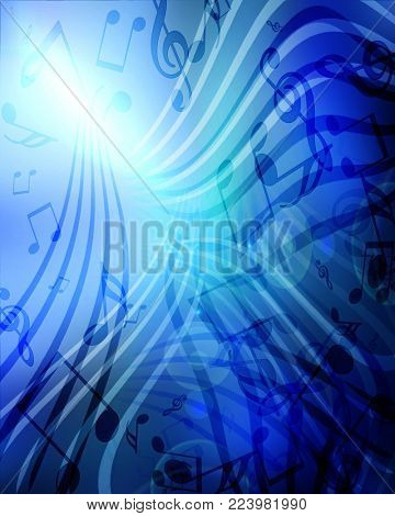 Abstract flowing blue background with music