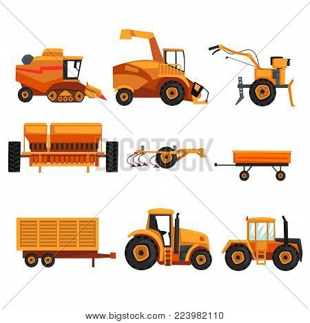 Set with different heavy machinery used in agriculture industry. Farm vehicle. Tractor, trailer, crawler, combine harvester, plowing equipment. Colorful flat vector design isolated on white background poster