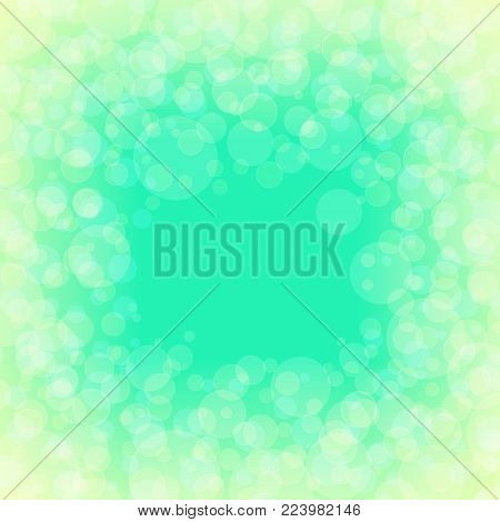 Green Soft Bright Abstract Bokeh Background with Defocused Lights in Yellow Color , Vector Illustration