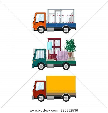 Set of Small Cargo Trucks, Car Transports Windows, Green Mini Lorry with Furniture, Closed Truck, Transport and Delivery Services, Logistics, Vector Illustration