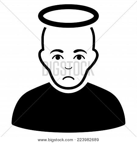 Unhappy Holy Man vector pictograph. Style is flat graphic black symbol with unhappy sentiment.