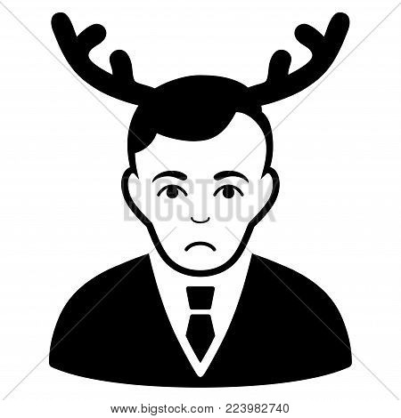 Unhappy Horned Husband vector icon. Style is flat graphic black symbol with sorrow feeling.