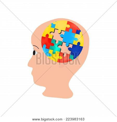 Puzzles in the brain. head. World Autism Day. Vector illustration on isolated background