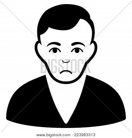 Sad Man vector pictograph. Style is flat graphic black symbol with depression expression.