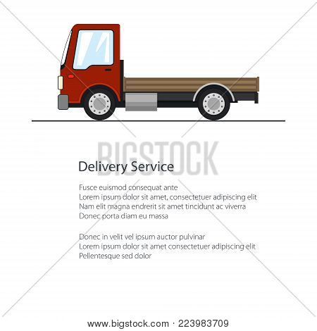 Poster with Small Truck , Red Mini Cargo Lorry without Load and Text , Delivery Services and Logistics, Shipping and Freight of Goods, Flyer Brochure Design, Vector Illustration