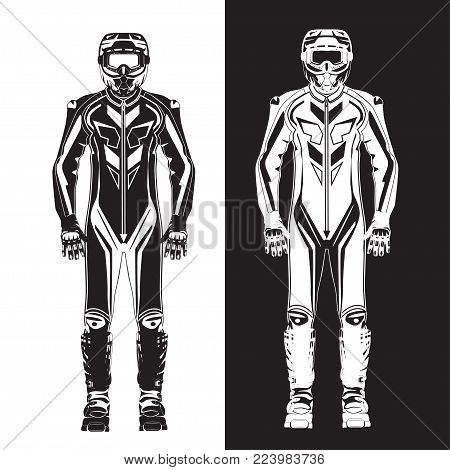 Vector illustration of motorcycle riding or race suit. Hovering motorcycle, hovercraft riding suit black and white templates. Flat style design.