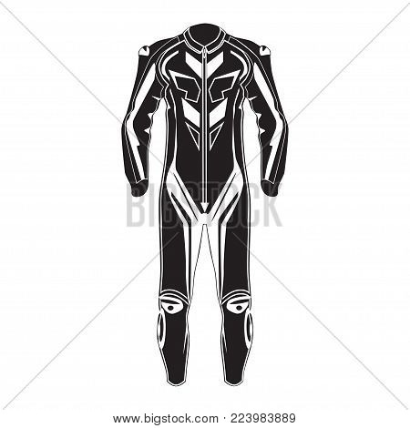 Vector illustration of motorcycle riding or race suit. Hovering motorcycle, hovercraft riding suit black template. Flat style design.