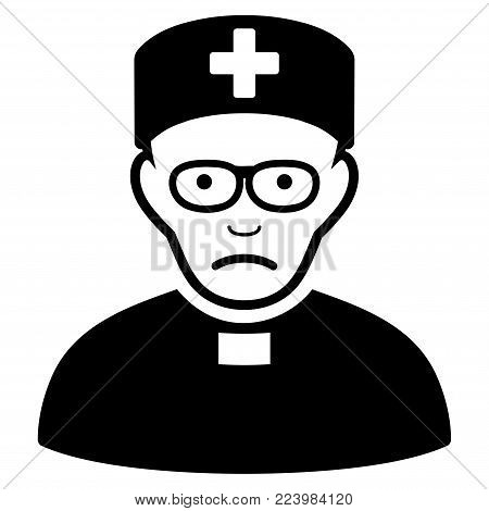 Pitiful Monastic Doctor vector pictogram. Style is flat graphic black symbol with sadness sentiment.