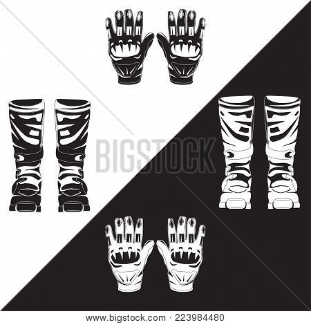 Vector illustration of race motorcycle, hovering motorcycle boots and gloves. Elements of motorcycle suit black and white templates. Flat style design.