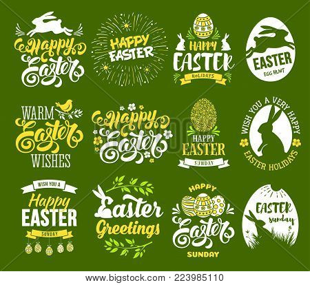 Happy Easter set. Stylized, plain and bicolour labels with bunny, painted eggs, calligraphy and lettering. Isolated on green background. Easy for use. Vector illustration.