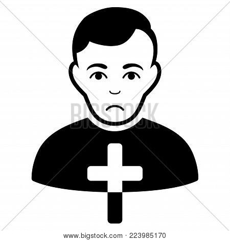 Sad Orthodox Priest vector pictograph. Style is flat graphic black symbol with sadly expression.
