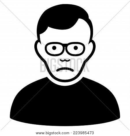 Sadly Pensioner vector icon. Style is flat graphic black symbol with sadness emotion.