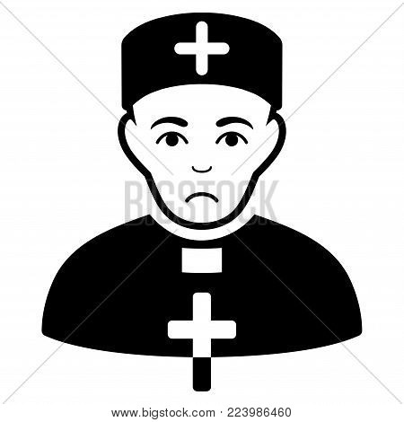 Sadly Priest Doctor vector icon. Style is flat graphic black symbol with mourning feeling.