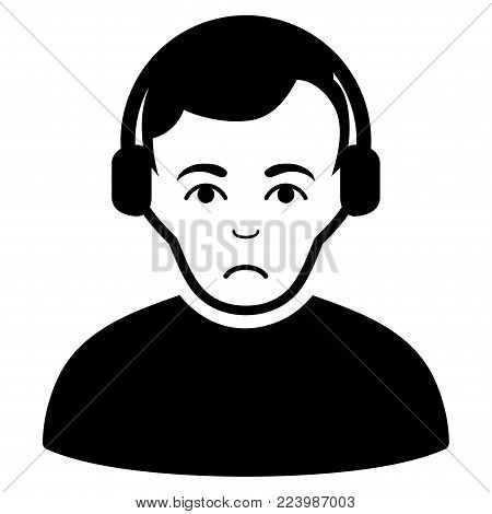 Unhappy Radioman vector pictogram. Style is flat graphic black symbol with unhappy expression.