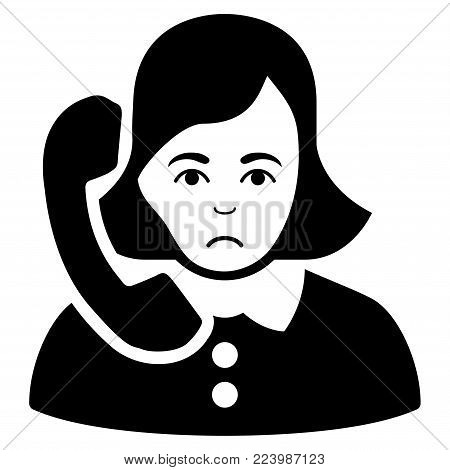 Pitiful Receptionist vector icon. Style is flat graphic black symbol with unhappy sentiment.
