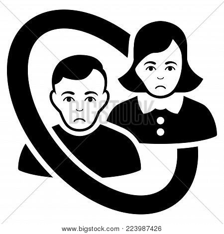 Unhappy Ringed People Couple vector icon. Style is flat graphic black symbol with unhappy emotion.