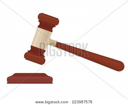 A lifted hammer of a judge on a white background. A symbol of justice. Vector flat illustration for your design.