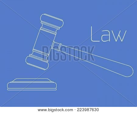 Contour lifted hammer of a judge on a blue background. Symbol of justice. Vector outline flat illustration for your design.