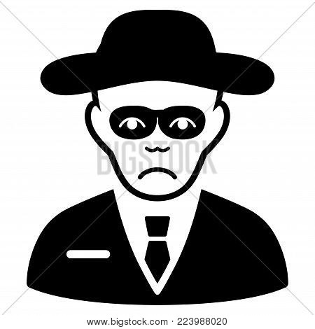 Sad Security Agent vector pictograph. Style is flat graphic black symbol with stress feeling.
