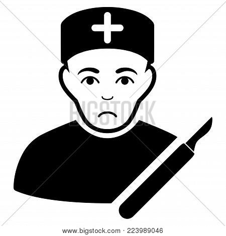 Unhappy Surgeon vector icon. Style is flat graphic black symbol with sadness feeling.