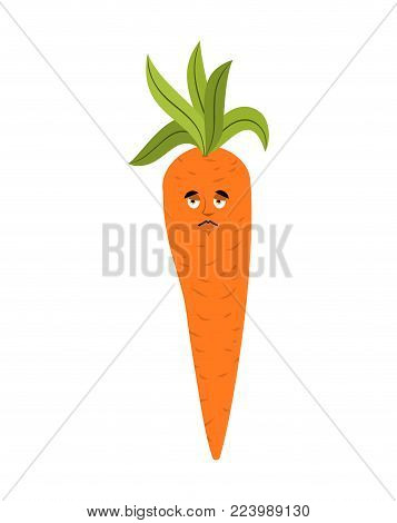 Carrot Sad Emoji. Vegetable Sorrowful Isolated. Sadness Emotion