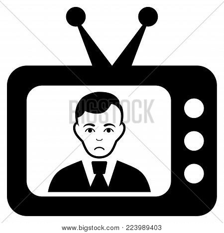Dolor TV Dictor vector pictogram. Style is flat graphic black symbol with sorrow emotion.