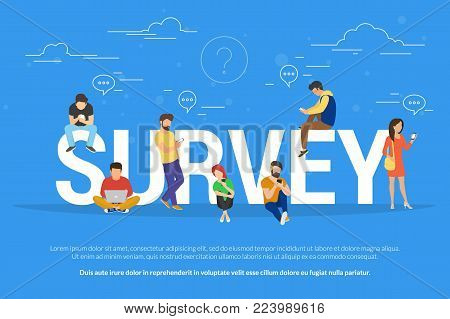 Online survey concept vector illustration of people using laptop and smartphone mobile app for fulfilling checklist or leaving a feedback for online service. Flat guys and young women near big letters